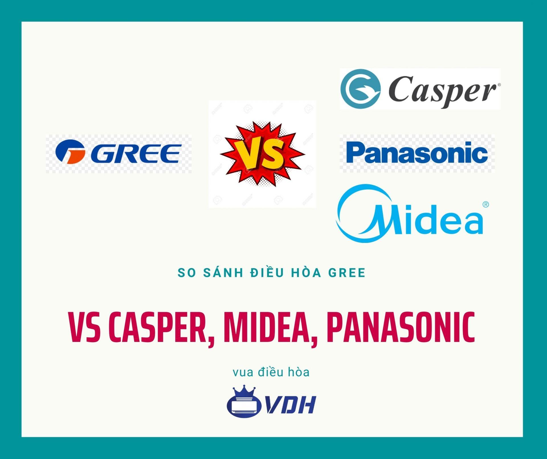 So sánh điều hòa Gree với Midea, Sharp, Panasonic, Casper